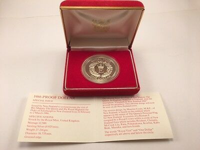 1986 New Zealand Silver Proof Dollar Royal Visit Special Issue