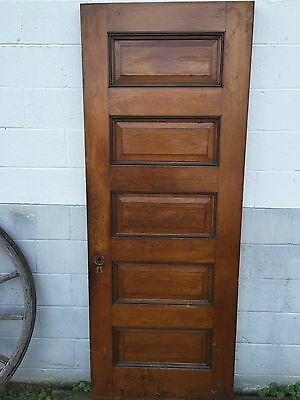 "ANTIQUE 32"" x 83"" OAK WOOD 5 RAISED PANEL MISSION ARTS CRAFT CRAFTSMAN DOOR"