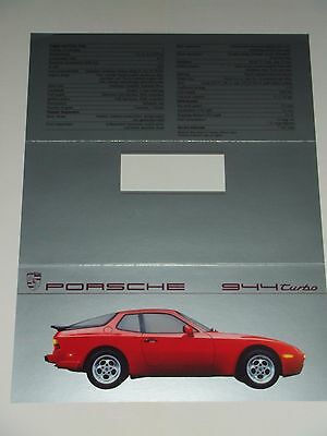 1987 Porsche 944 Turbo Coupe Showroom Sales Folder / Brochure RARE Awesome L@@K