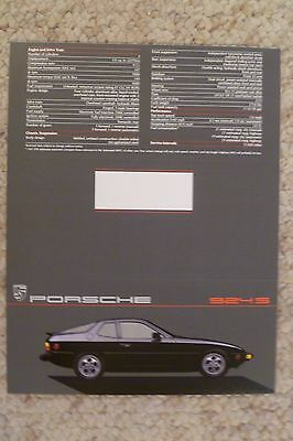 1987 Porsche 924-S Coupe Showroom Sales Folder / Brochure RARE!! Awesome L@@K