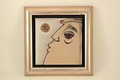 "Vtg 1979 Signed Susana Espinosa 6"" Folk Art Pottery Tile Mid Century Man Framed"