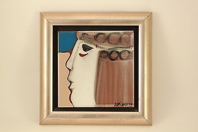 "1979 Signed Susana Espinosa 6"" Folk Art Pottery Tile Mid Century Woman Framed"