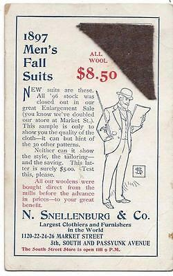 1897 Men's Fall Suit Sample - All Wool - N. Snellenburg & Co.,k Philadelphia, PA