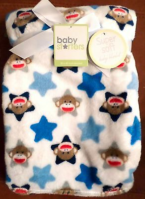 Baby Starters Sock Monkey Boys Baby Blanket with Stars White/Blue/Tan 30x40