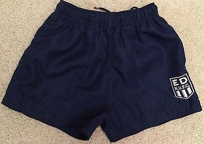 ED RUFC Rugby Union Shorts Dark Blue Polyester 2 Pockets Kids Size 28 VGC