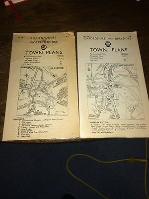 Vintage Town maps Plans Herefordshire Worcestershire Oxfordshire Berkshire