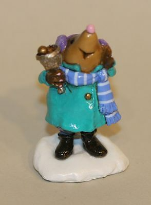 Wee Forest Folk Mole Bell Ringer MO-02 Teal Coat Blue & White Striped Scarf