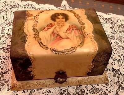 Antique VTG Victorian Woman Cuff Collar Celluloid Velvet Vanity Dresser Box