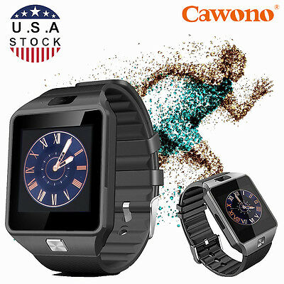 Black DZ09 Bluetooth Smart Watch Phone Mate Sports GSM SIM For Android Samsung