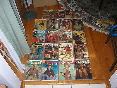 Lot of 19 Dell Gunsmoke Western Photo Cover James Arness Comics Silver Age