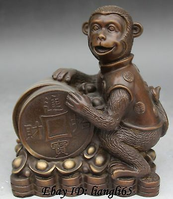 "8"" Marked Chinese Bronze Wealth Zodiac Year Animal Monkey Yuanbao Coin Statue"