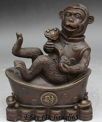 "8"" Marked Chinese Bronze Wealth Zodiac Year Animal Monkey Hold Ruyi Coin Statue"