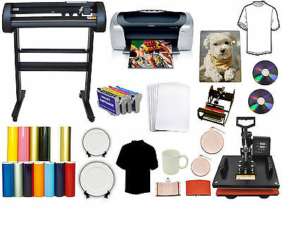 "5in1 Heat Press,24"" 500g LaserPoint Vinyl Cutter Plotter,Printer,Refil PU,Tshirt"