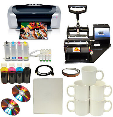 New Mug Cup Heat Press Machine,Epson Printer CISS Set,Transfer Paper,Mug Package