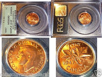 1947 Canada One Cent RED - HIGH GRADE . PCGS MS65