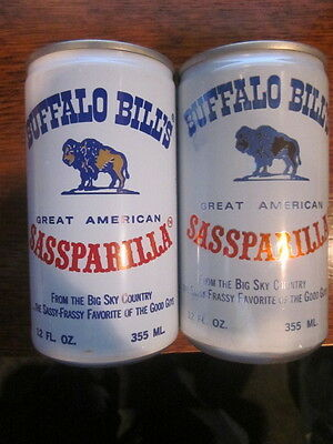 1983  BUFFALO BILL'S  SASSPARILLA   ROOT BEER  CANS  Bottom Opened