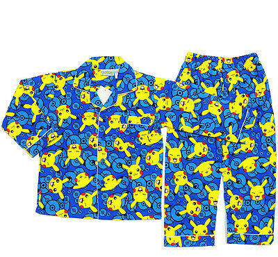 New Sz 4~12 Kids Boys Pokemon Go Pyjamas Winter Flannelette Sleepwear Pjs Tshirt