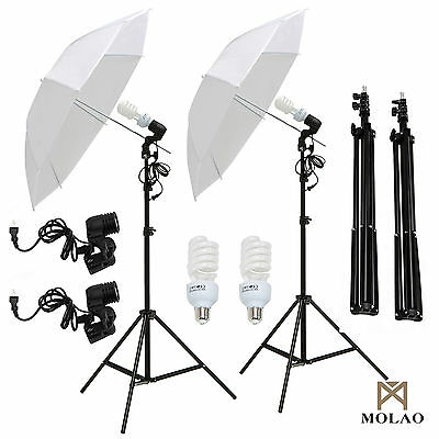 "White 2x33"" Photo Video Studio Umbrella Reflector Photography Stand Lighting Kit"