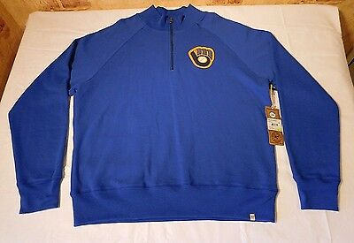 NWT Milwaukee Brewers Zip Up Pullover Sweatshirt by Forty Seven Brand Sz XXL