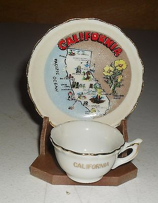 VINTAGE MINIATURE SOUVENIR TEA CUP & SAUCER FROM CALIFORNIA with STAND