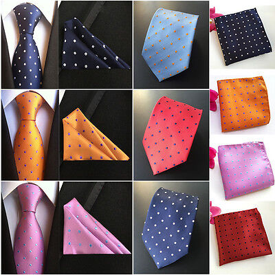 Men's Silk Polka Dots Tie Jacquard Woven Necktie Pocket Square Handkerchief Lot
