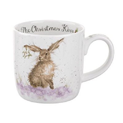 Wrendale Designs Mug by Royal Worcester Fine Bone China in Christmas Kiss Rabbit