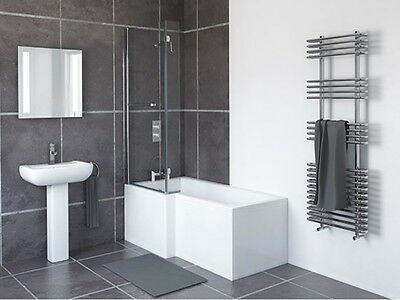 White 1800mm L Shaped Bath Left Hand And Right Hand Acrylic Bath Gloss Finish