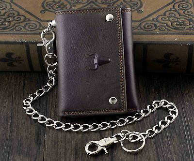 Biker Mens 7 in Premium Credit Card Tri-Fold Leather Wallet with Chain CP339