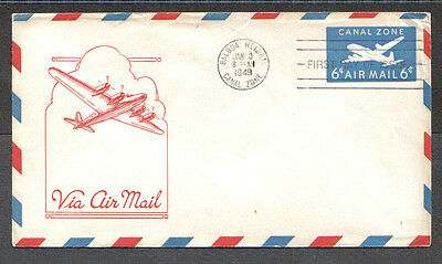 Us Fdc 1949 Canal Zone 6C Via Air Mail First Day Of Issue Cover Balboa Heights