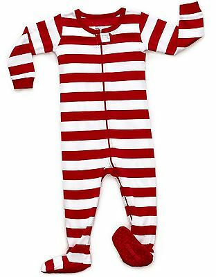 """Leveret """"Christmas"""" Striped Footed Pajama Sleeper 100% Cotton (Size 6M-5 Years)"""