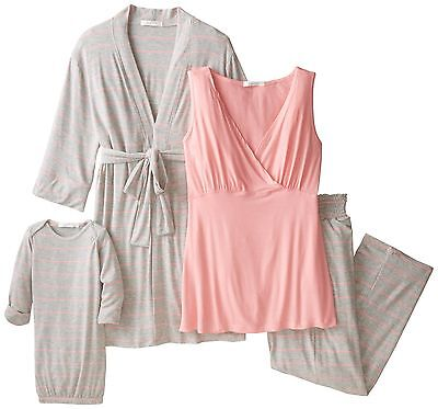 Everly Grey Women's Maternity Roxanne Nursing Pajama Set with Baby Gown Rosebud