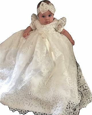 Newdeve Baby-girls Lace Beads Infant Toddler White Christening Gowns Long Ivory