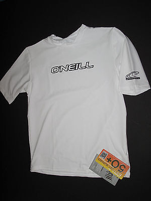 O'Neill Boys 6 Short Sleeve Youth Basic Rash Guard Tee UV Shirt White NWT