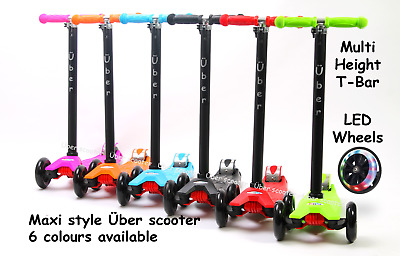 Maxi Scooters T bar Tilt and Turn Kick Über Scooter 6 colours Suit 5-12yr old
