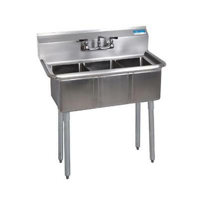 "Stainless Steel 3 Compartment Sink 36"" x 20"" NSF Certified"