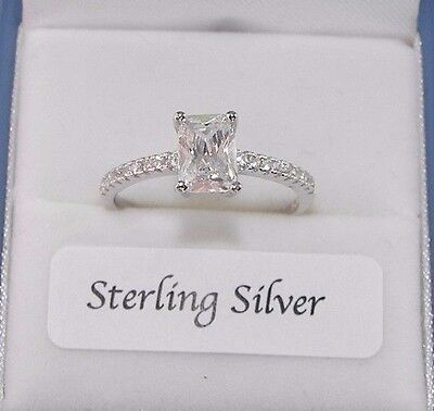 925 Sterling Silver 1.06ct Solitaire Created Diamond Engagement Style Ring
