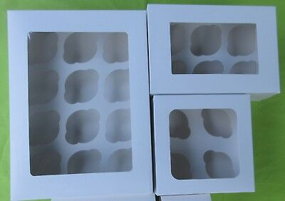White Window cupcake boxes, 4, 6 or 12 Cup, with card inserts