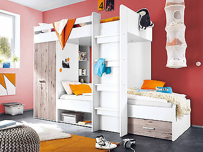 Brand New Modern Kids Children Bunk High Bed MAX with Wardrobe and Drawer White