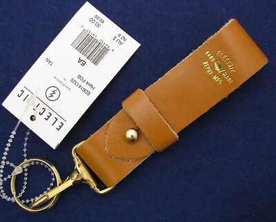 NWT REPOP-MFG USA Hank Fob Electric Handmade Leather Key Chain Ring Holder Clip