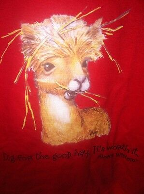 "Large Adult Alpaca Wisdom ""Dig For The Good Hay It's Worth It' TShirt Brand New"