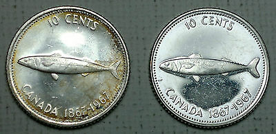 2 1967 Canada 10 cents silver coins, fish, coin
