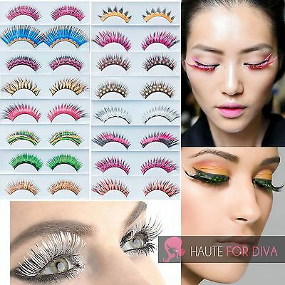 Womens Fancy Dress Evening Eyelashes Extention Tiger Print Colourful Reuseable
