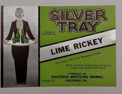 1930's ORIGINAL SILVER TRAY LIME RICKEY 24 FL OZ. VINTAGE SODA LABEL HASTINGS PA