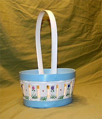 """Vintage Wood Easter Basket Spring Centerpiece Hand Painted Tulips 12"""" H"""