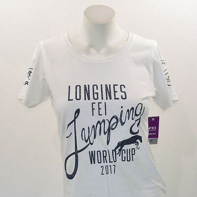 Ariat Longines FEI Jumping 2017 World Cup Poster Tee Shirt - Ladies - White