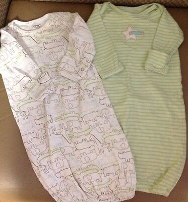 Infant 0 - 3 M Months Carter's Gown With Mittens Lot 2 Boy Girl Unisex