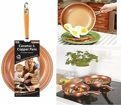 2 Piece Ceramic Frying Pan Cookware Set Copper Effect 24cm & 28cm. Gas, Electric