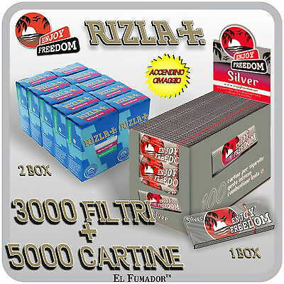 3000 Filtri RIZLA SLIM 6mm + 5000 Cartine ENJOY FREEDOM SILVER CORTE + ACCENDINO