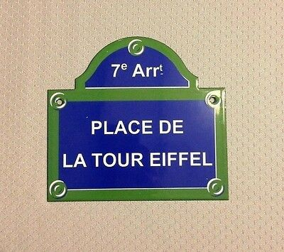 French Street Enameled Sign Plaque - PARIS PLACE TOUR EIFFEL