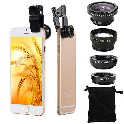Obiettivo Lente Fisheye Grandangolo 2.0X Tele Kit per iPhone 5S 6S 6 Plus DC688